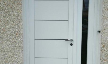 Porte en PVC blanc avec insert miroir